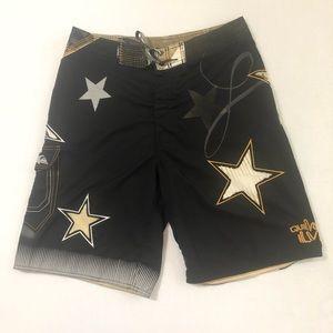 Quicksilver Board Shorts Black Gold Stars Skull
